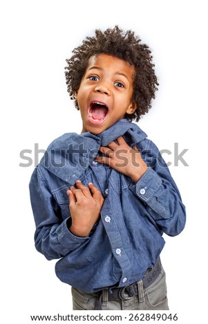 Frightened boy much screaming of fright. - stock photo
