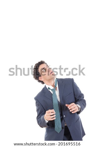 frightened business man looking up, fear of somethnig, mobbing at work from someone - stock photo