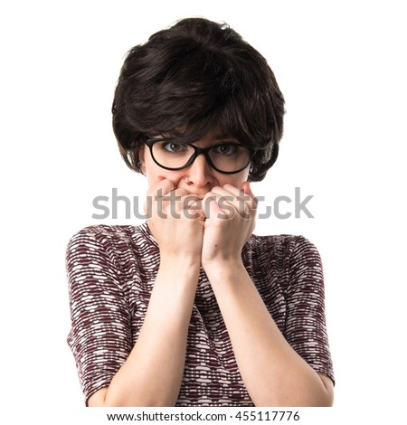 Frightened girl with vintage look - stock photo