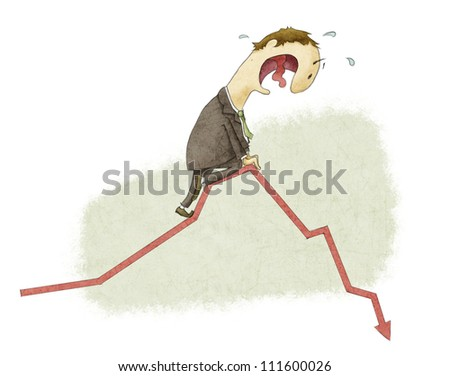 frightened man in a chart going down. - stock photo
