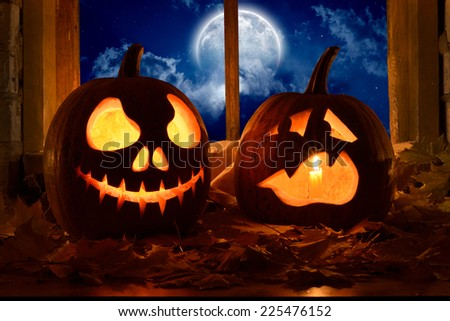 frightened pumpkin halloween - stock photo