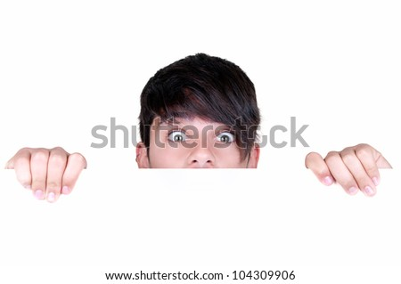frightened teenage boy on white background