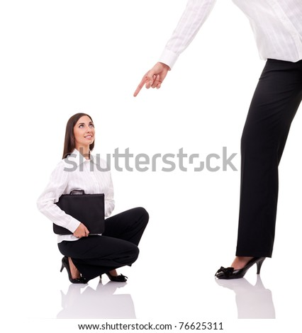 frightened woman and angry boss, business relation, isolated on white - stock photo