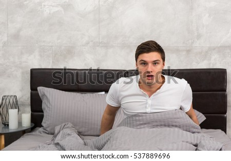 Young woman sleeping wearing pajama bed stock photo for Beds that sit up
