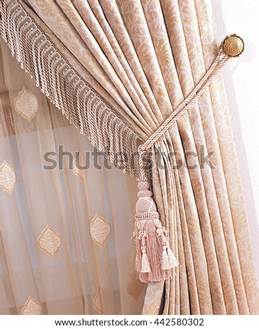 Fringed Curtain Detail - stock photo