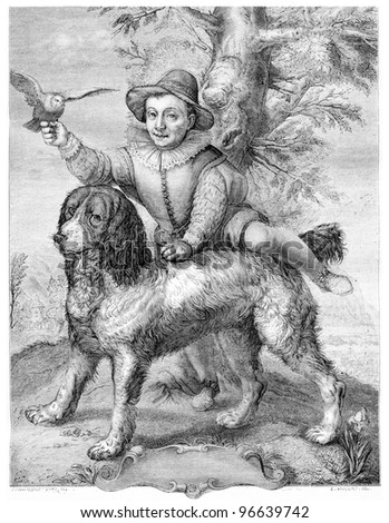 Frisius's son and the dog Goltzius, vintage engraved illustration. From the Magasin Pittoresque published in 1867. - stock photo