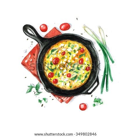 Fritata - Watercolor Food Collection - stock photo