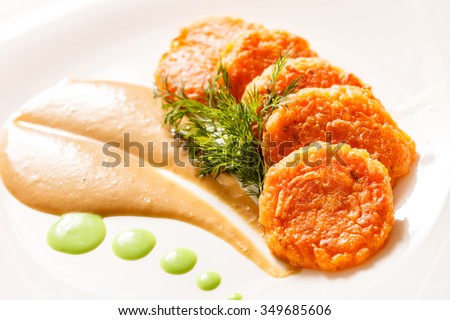 Fritters with vegetables - stock photo