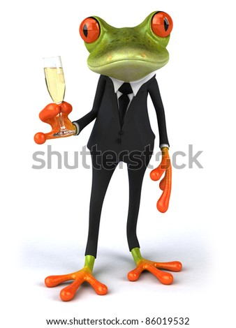 Frog and champagne - stock photo