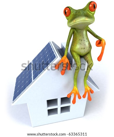 Frog and solar panels - stock photo