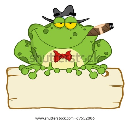 Frog Cartoon Mobster With A Hat And Cigar Over A Blank Wood Sign - stock photo