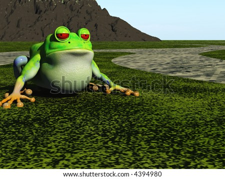 frog cartoon sits on green plain - stock photo
