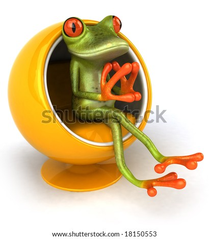 Frog in a design chair - stock photo