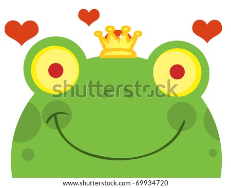 Frog Prince Cartoon Character With Hearts - stock photo