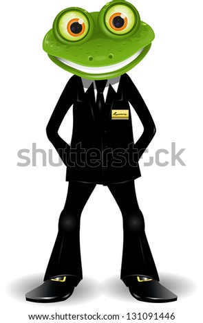 frog security guard in a black suit - stock photo