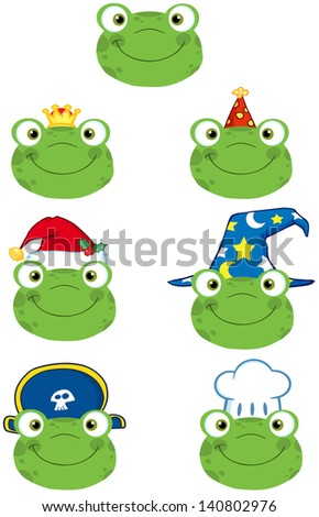 Frog Smiling Heads. Raster Collection - stock photo