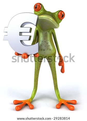 Frog with euro - stock photo