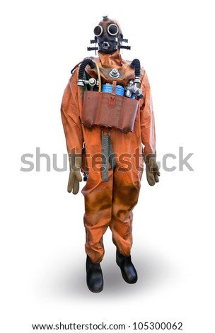 Frogman equipment isolated on white with soft shadow - stock photo