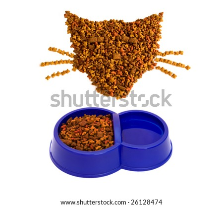 From a dry feed for cats it is possible to spread figures - stock photo