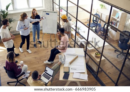 group contemporary office. From Above View Of People In Contemporary Office Having Discussion And Working Together. Group G