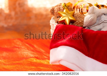 from baskets hanging down and falling out Christmas toys - stock photo