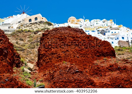 from    boat    in europe greece   santorini island house and rocks the sky - stock photo