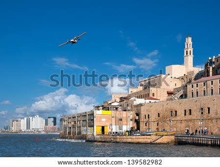 From left in the background is seen in Tel Aviv. - stock photo