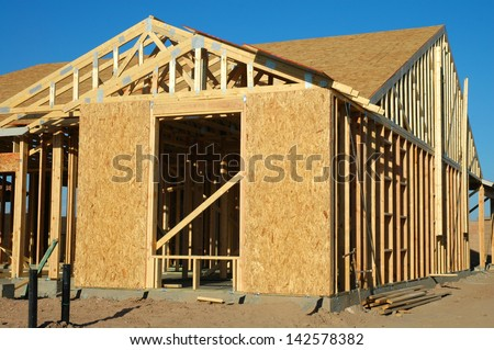 From of Home Under Construction - stock photo