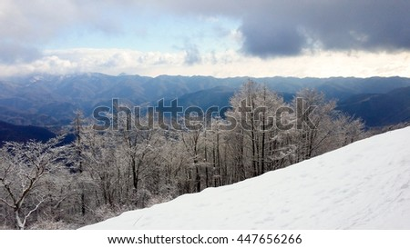 From one snow covered mountain slope, looking to a mountain range in the distance.  Beautiful white snow covered trees in the foreground contrast against the distant deep green trees. - stock photo
