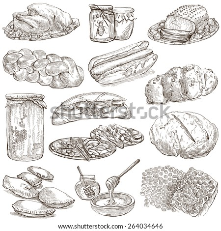 From series: FOOD and DRINKS - Collection of an hand drawn illustrations. Description: Full sized hand drawn illustrations, original freehand sketches on white. Pack no.7 - stock photo
