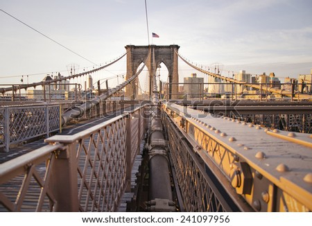 From the Brooklyn Bridge, viewing down the way to Manhattan.