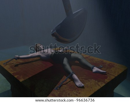From the famous story man is chained to bench while swinging pendulum blade inches closer with each swing - stock photo