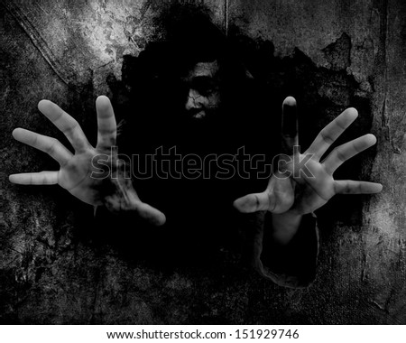 From The Ruins,Black And White Horror Background For Halloween Concept - stock photo