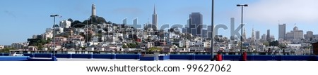 From the top of a parking structure a panorama of San Francisco. - stock photo