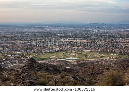 From the top of South Mountain looking over Phoenix - stock photo