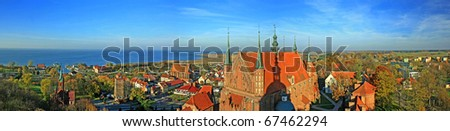 Frombork Cathedral, a place where he worked Copernicus. Panorama - stock photo