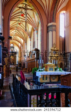FROMBORK, POLAND - JUNE 27: Interior of the Archcathedral Basilica of the Assumption of the Blessed Virgin Mary and Saint Andrew, on June 27, 2010 in Frombork, Poland.