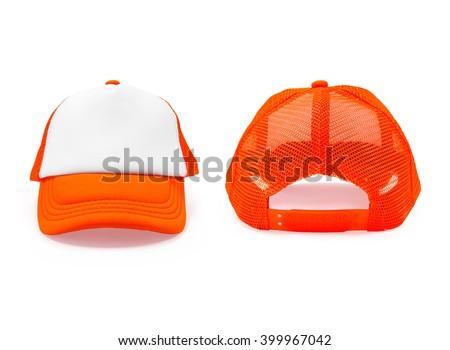 Front and back. Fashion cap. Fashion cap isolated. Cap isolated. Hat isolated. Blank cap. Blank fashion cap. Blank sport cap. Modern cap.  Sun protection. Hot protection. Hat isolated. Sport day cap. - stock photo