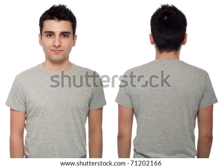 front and back of a young casual man wearing t-shirt isolated on white background