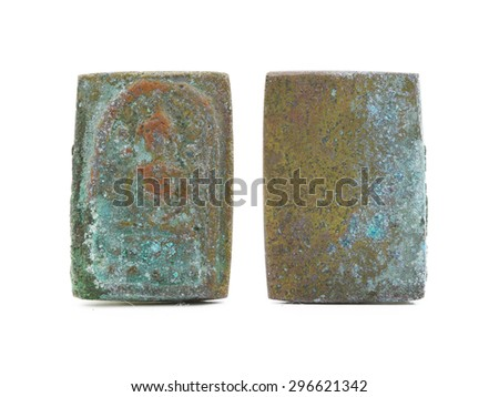 front and back of Small Amulets Buddha Image - stock photo