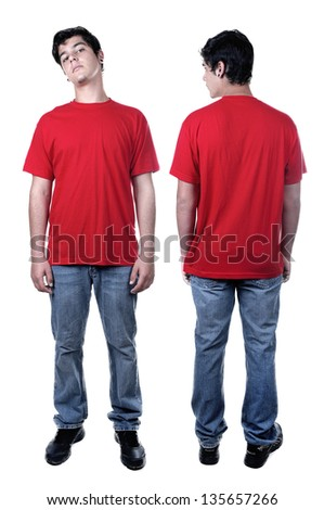 Front and back of young man standing isolated on white - stock photo