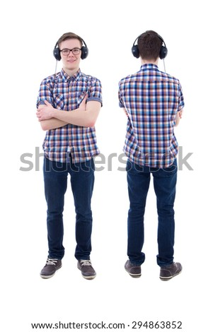 front and back view of handsome teenage boy with headphones isolated on white background - stock photo