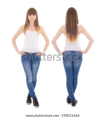 front and back view of teenage girl in white t-shirt isolated on white background - stock photo