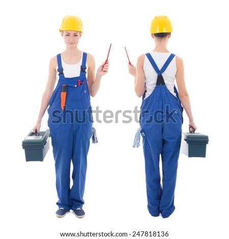 front and back view of young beautiful woman builder in workwear with toolbox and screwdriver isolated on white background - stock photo