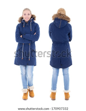 front and back view of young woman in winter clothes isolated on white background - stock photo