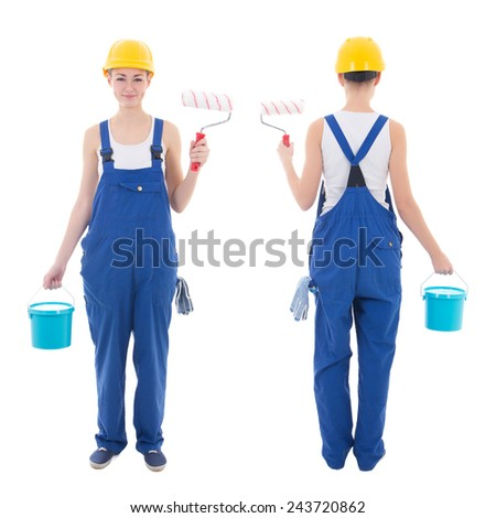 front and back view of young woman painter in blue coveralls isolated on white background - stock photo