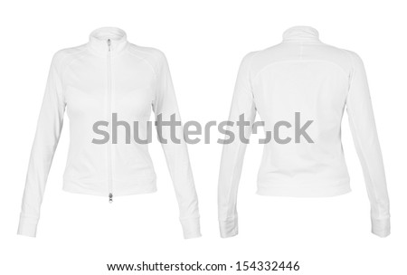 Front and back white t-shirt isolated on white background - stock photo