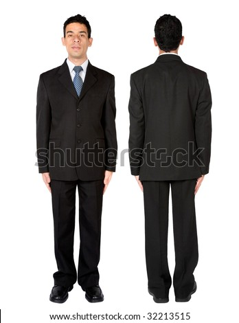 Front and rear view of a fullbody business man isolated - stock photo