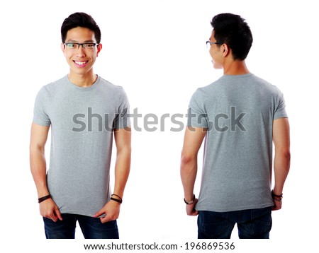 Front and rear view of Asian man isolated on white background