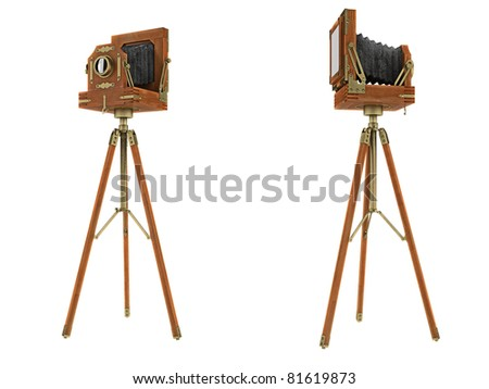 Front and Side views of vintage large format camera isolated on white - stock photo